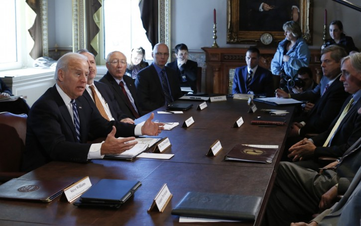 U.S. Vice President Joe Biden speaks during a meeting on curbing gun violence at the White House in Washington January 10, 2013. REUTERS/Kevin Lamarque