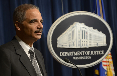 FILE - US Attorney General Eric Holder delivers remarks at the 2012 DOJ Disability Employment Awareness Month event at the Department of Justice in Washington, DC, USA, 16 October 2012. EPA