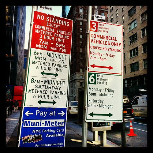 Officials unveiled new parking signs in Midtown on Monday, Jan. 7, 2013. The signs aim to make parking regulations easier to read and understand.(Photo Credit: NYC DOT)