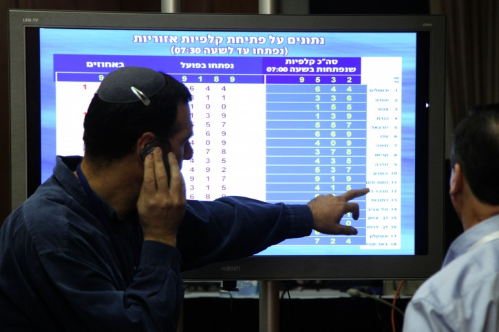 View of the Central Election Committee's Control Room in the Israeli parliament on january 22, 2013, when Israelis go to the polling stations to vote in the general elections for Israel's 19th parliament. January 22, 2013. Photo by Isaac Harari/FLASH90