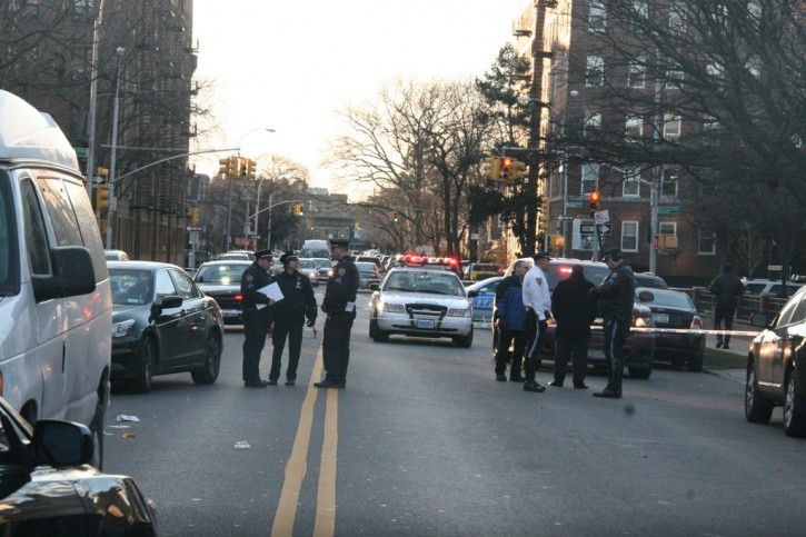 NYPD doing an investigation where 15-year-old girl was struck and killed by a van on Jan. 22 2013. Photo: Shimon Gifter