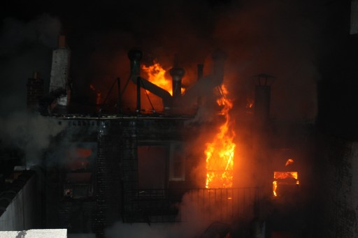 Flames rose from 41 Spring St. Jan. 10, 2013. Photo: Roy Renna / BMR Breaking News