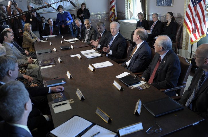 Vice President Joe Biden, center, gestures as he speaks during a meeting with Sportsmen and Women and Wildlife Interest Groups and member of his cabinet, Thursday, Jan. 10, 2013, in the Eisenhower Executive Office Building on the White House complex in Washington. (AP Photo/Susan Walsh)