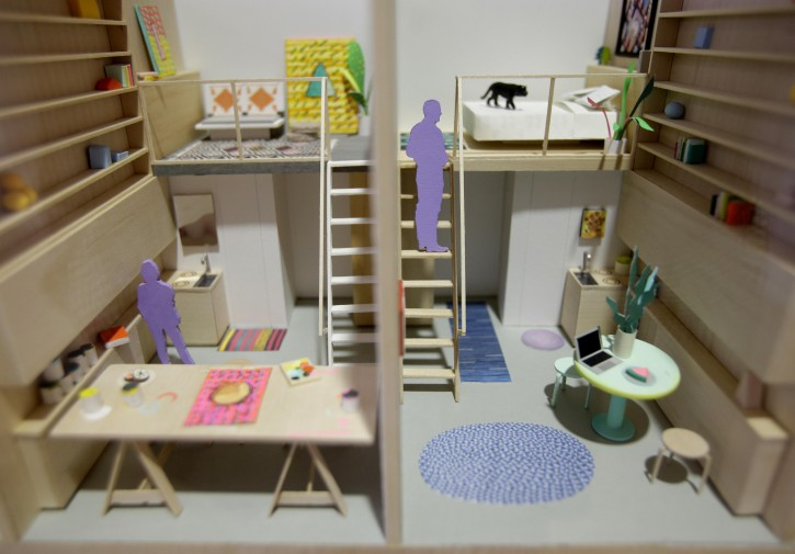 "A model of micro-apartments are displayed at an exhibit called ""Making Room: Models for Housing New Yorkers"" at the Museum of the City of New York in New York, Tuesday, Jan. 15, 2013. The exhibit grew out of the city's PlaNYC, which projected the city's population  will grow by about  600,000 people by 2030. (AP Photo/Seth Wenig)"