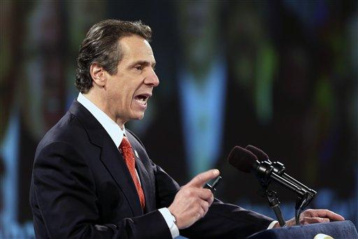 New York Gov. Andrew Cuomo delivers his third State of the State address at the Empire State Plaza Convention Center in Albany on Jan. 9. (AP Photo)