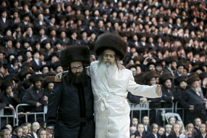Satmar Rebbe Rabbi Zalman Leib Teitelbaum at the wedding of his granddaughters ceremony and reception in Beit Shemesh, Israel on Jan. 23 2013