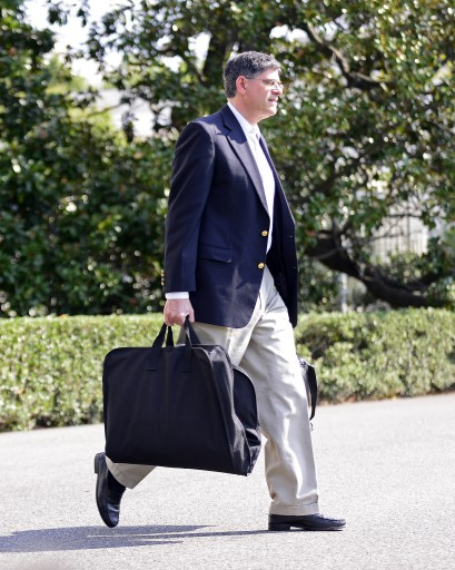 White House Chief of Staff Jacob Lew carries his bags as he walks to Marine One on the South Lawn of the White House in Washington, D.C. on his way to depart the White House in Washington, D.C., USA, 30 September 2012, to accompany President Obama in his trip to Henderson, Nevada.  EPA/RON SACHS/POOL