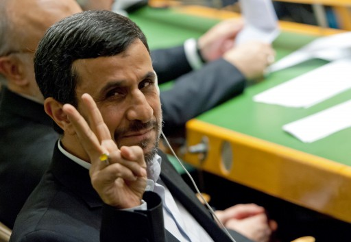 File photo of Mahmoud Ahmadinejad, President Iran, shows a 'V' sign at UN headquarters in New York City. EPA/SVEN HOPPE