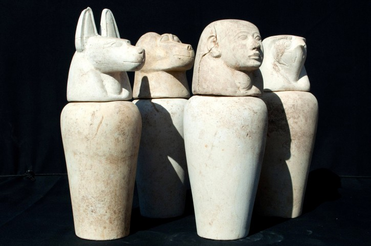 Canopic jars discovered inside a temple of Pharaoh Amenhotep II, in Luxor, Egypt. EPA/EGYPTIAN ANTIQUITIES MINISTRY/