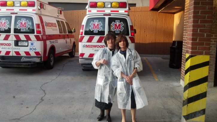 FILE - Sarah Gluck and daughter Ruchie Freier founder of Ezras Nashim doing their rotations during EMT training May 2012 at Methodist Hospital in Brooklyn. Ezras Nashim was granted on Feb. 15 2013 a NY state permit to operate in the state of NY.