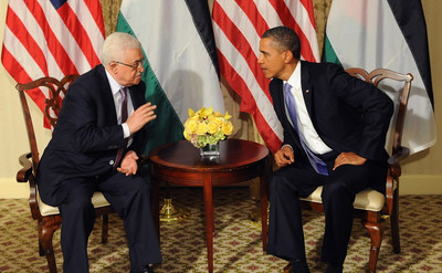 FILE -  United States President Barack Obama meets with Palestinian President Mahmoud Abbas on 21 September 2011 at the Waldorf Astoria Hotel in New York City, USA.  EPA/Aaron Showalter