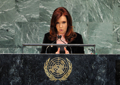 FILE - Cristina Fernández, President of the Argentine Republic addresses the opening of the 67th session of the United Nations General Assembly at United Nations headquarters in New York, New York, USA, 25 September 2012.  EPA/JASON SZENES
