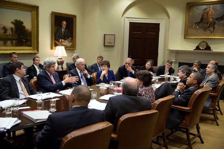 President Barack Obama listens to Secretary of State John Kerry during a meeting on immigration with Cabinet members and advisors in the Roosevelt Room of the White House, Feb. 7, 2013. (Official White House Photo by Pete Souza)