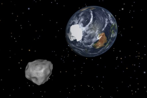 This image provided by NASA/JPL-Caltech shows a simulation of asteroid 2012 DA14 approaching from the south as it passes through the Earth-moon system on Friday, Feb. 15, 2013. The 150-foot object will pass within 17,000 miles of the Earth. (AP Photo/NASA/JPL-Caltech)