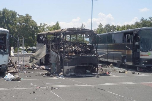 FILE - Buses that were damaged in a bomb blast are seen outside Burgas Airport, about 400km (248miles) east of Sofia July 19, 2012. Reuters