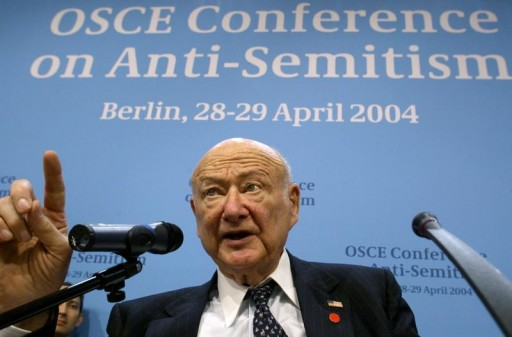 FILE - Ed Koch, former New York mayor and head of the U.S. delegation gives a speech during an international two-day conference on fighting anti-Semitism by the Organisation for Security and Cooperation in Europe (OSCE) in the German capital Berlin April 28, 2004. REUTERS/POOL