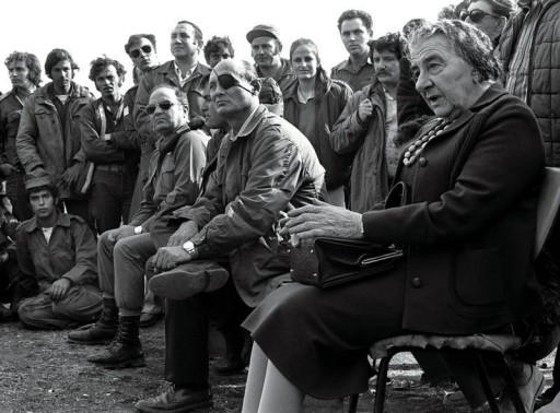 FILE PHOTO Nov. 21 1973- Prime Minister Golda Meir (R) accompanied by her Defense Minister Moshe Dayan, meets with Israeli soldiers at a base on the Golan Heights after intense fighting during the 1973 Yom Kippur War.