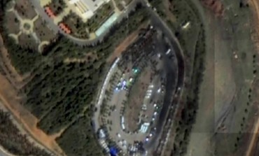 Satellite images of burnt road at alleged Israeli strike site in Syria. Photo: Screenshot Channel 2
