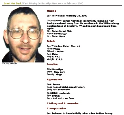 Beck was on the NYPD's missing list for over 12 years