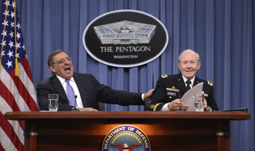 File photo of US Secretary of Defense Leon Panetta (L) laughs with US Chairman of the Joint Chiefs of Staff General Martin Dempsey (R). EPA/SHAWN THEW