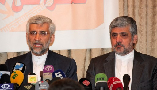 Head of the Iranian National Security Council, Saeed Jalili (L), speaks as the Iranian Ambassador to Syria, Mohammad Riza Shibanni (R), looks on during a press conference in Damascus, Syria, 04 February 2013. EPA/YOUSSEF BADAWI