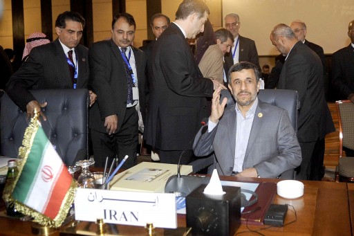 Iranian President Mahmoud Ahmadinejad (R) attends the opening session of the Organization of Islamic Cooperation (OIC) summit, in Cairo, Egypt, 06 February 2013.  EPA