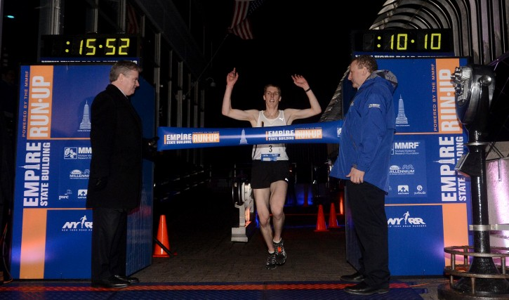 Australian Mark Bourne finishes as winner of the Men's Invitational race at the 46th annual Empire State Building Run-Up in New York, New York, USA, on 06 February 2013. Over 650 runners from around the world participated in the annual race up 1,576 steps to the 86th floor observatory. EPA/ANDREW GOMBERT