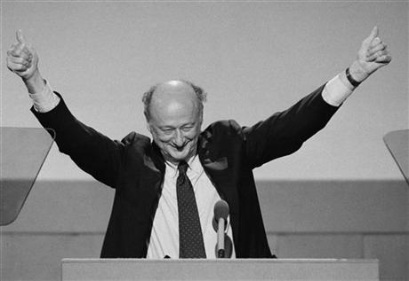 In this July 16, 1984, file photo, New York Mayor Ed Koch raises his hands with two thumbs up while addressing the opening session of the Democratic National Convention in San Francisco. (AP Photo/Ira Schwarz, File)