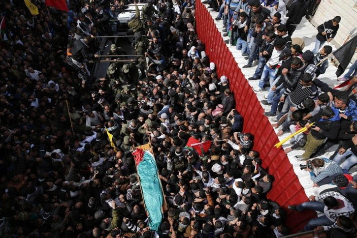 Palestinians carry the body of Arafat Jaradat during his funeral in the West Bank village of Se'eer, near Hebron, on Feb. 25, 2013.<br /> Darren Whiteside / Reuters