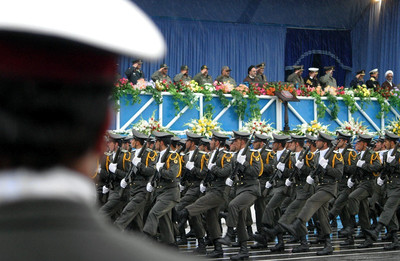 FILE - Iranian elite forces parade in front of Iranian President Mohammad Khatami (C) during the annual Army Day in Teheran, Saturday 17 April 2004. Iran's armed forces are made of the regular army and the revolutionary guards with a reported total of 500,000 to 700,000 forces. EPA