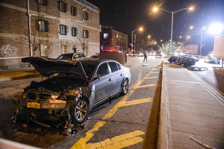 In this Sunday, Mar. 3, 2013 photo, This BMW hit the car in which Raizel Glauber and Nachman Glauber were riding near the intersection of Kent Ave. and Wilson St. in Brooklyn, N.Y. The driver Mr. Julio Avecedo fled the scene, Police arrested on Feb. 6 2013 Mr. Avecedo in Bethlehem PA. (Photo by James Keivom/NY Daily News via Getty Images-VINNews.com)