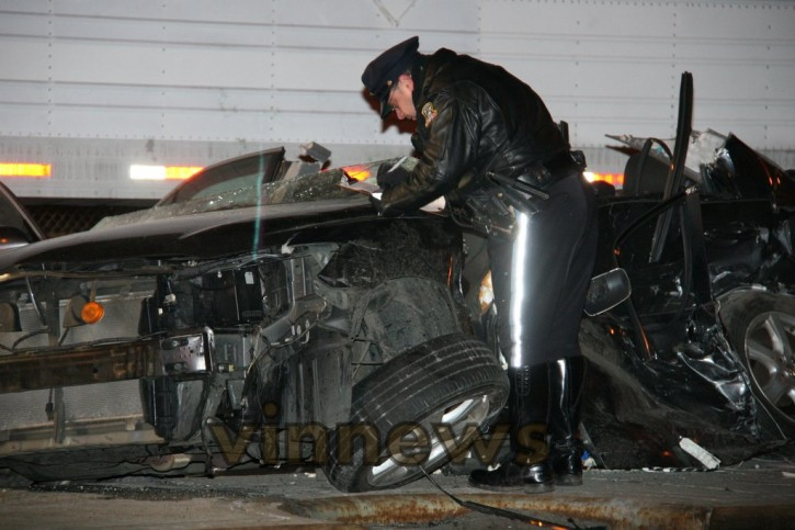 Police on the scene of the accident investigating on Feb 3 2013. Photo: Shimon Gifter