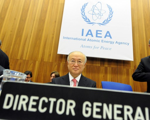 FILE - International Atomic Energy Agency (IAEA) Director General, Yukiya Amano, prior to the start of a meeting of the IAEA Board of Governors in Vienna, Austria, 04 March 2013. EPA/HERBERT PFARRHOFER
