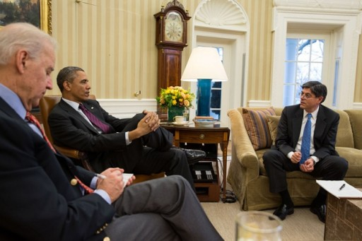 President Barack Obama and Vice President Joe Biden meet with Treasury Secretary Jack Lew in the Oval Office, March 6, 2013. (Official White House Photo by Pete Souza)