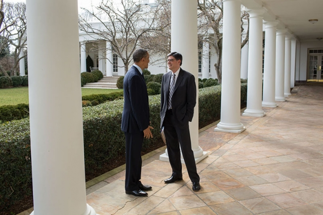 President Barack Obama talks with Treasury Secretary Jack Lew on the Colonnade of the White House, March 13, 2013. (Official White House Photo by Pete Souza)