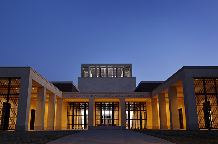 Evening sun sets over the front entrance to the George W. Bush Presidential Library and Museum Monday, March 25, 2013 in University Park, Texas. (AP Photo/The Dallas Morning News, G.J. McCarthy)