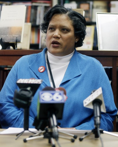 Albany Public Schools Superintendent Marguerite Vanden Wyngaard speaks about a Nazi-themed assignment given to students during a news conference on Friday, April 12, 2013, in Albany, N.Y. (AP Photo/Mike Groll)
