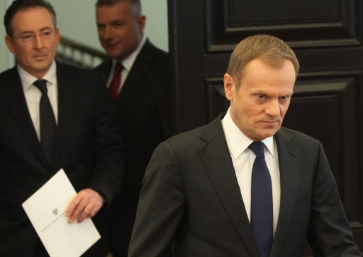 FILE -  Polish Prime Minister Donald Tusk (R), Interior minister Bartlomiej Sienkiewicz (L) and Government Spokesman Pawel Gras (C) before a press conference in Warsaw, Poland, 19 April 2013.  EPA