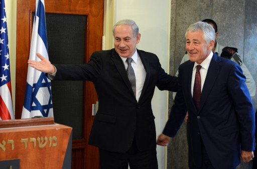 A photograph provided by the US Embassy in Tel Aviv shows U.S. Defense Secretary Chuck Hagel (R ) welcomed by Israeli Prime Minister Benjamin Netanyahu in the Israeli leader's Jerusalem offices, 23 April 2013. EPA/MATTY STERN
