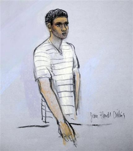 This courtroom sketch shows signed by artist Jane Flavell Collins defendant Robel Phillipos appearing in front of Federal Magistrate Marianne Bowler at the Moakley Federal Courthouse in Boston, Mass., Wednesday, May 1, 2013. (AP Photo/Jane Flavell Collins)