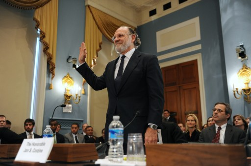 Former CEO of MF Global Inc., Jon Corzine (C), is sworn-in to testify before the House Agriculture Committee hearing on 'Examination of MF Global Bankruptcy', on Capitol Hill in Washington DC, USA, 08 December 2011. EPA/MICHAEL REYNOLDS