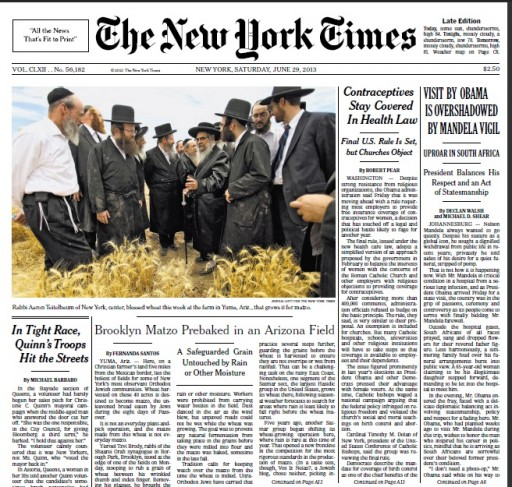 The NY Times article appeared this past Saturday profiling Satmar harvest in Arizona