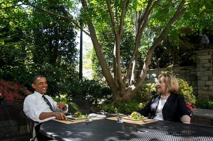 President Barack Obama has lunch with former Secretary of State Hillary Rodham Clinton on the patio outside the Oval Office, July 29, 2013. (Official White House Photo by Chuck Kennedy)