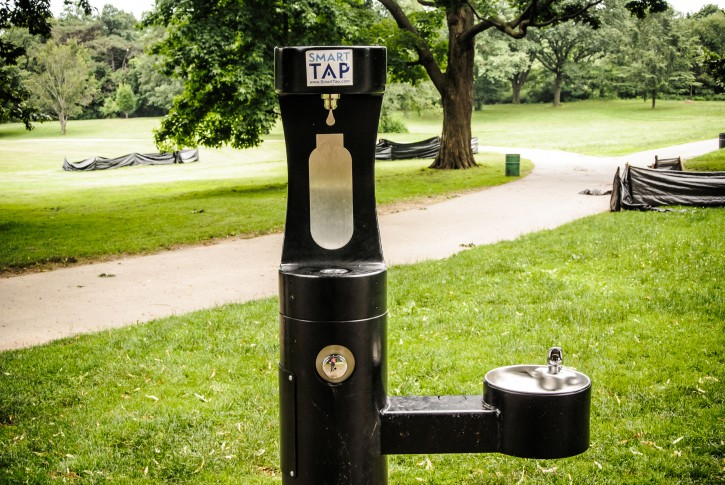 The new Smart Tap water fountain and old style fountain. Nethermead Prospect park Brooklyn NY. (Stefano Giovannini)