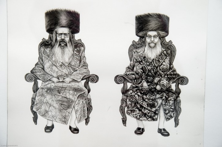 One of the Drawings on display in the Gallery and in 'Jews of Today' illustrates the dress codes of the Satmar Rebbes, the two brothers Rabbi Aron Teitelbaum,(R) and Rabbi Zalman Teitelbaum (L). (Photo: Stefano Giovannini/VINnews.com)