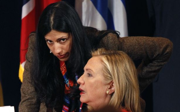 File photo of Huma Abedin, the wife of disgraced Anthony Weiner with former Secretary of State Hillary Clinton.<br /> REUTERS/Kevin Lamarque