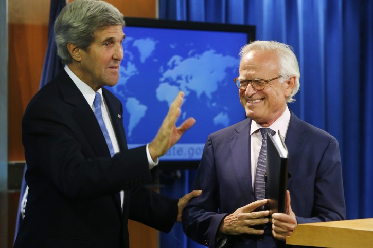 Secretary of State John Kerry stands with former U.S. Ambassador to Israel Martin Indyk at the State Department in Washington, Monday, July 29, 2013. (AP Photo/Charles Dharapak)