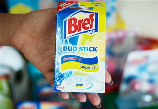 German consumer goods company Henkel has pulled a toilet freshener from the eastern European market after Ukrainians complained it looked like their flag.<br /> Gleb Garanich / Reuters