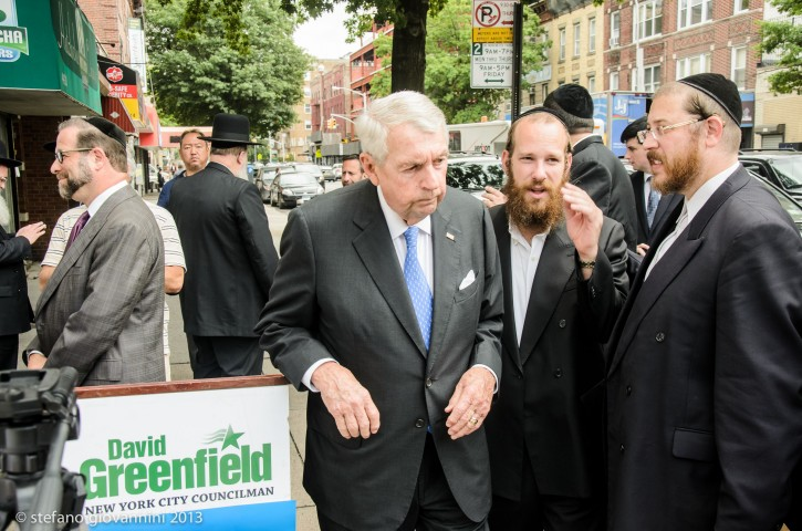 New York City councilman David Greenfield endorses Charles Hynes for Brooklyn District Attorney in Boro Park Brooklyn NY. photo by Stefano Giovannini