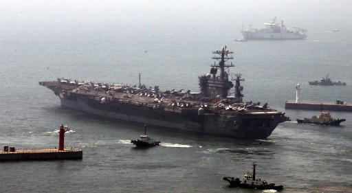File photo of the Nuclear-powered US aircraft carrier USS Nimitz departing a naval base in Busan, South Korea. EPA/YONHAP
